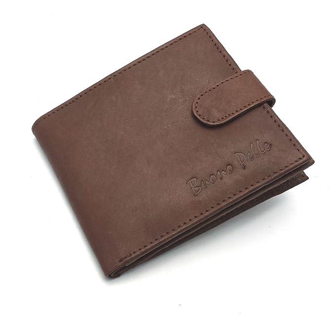 Buono Pelle - Cartera para hombre de piel Marrón marrón mediano: Amazon.es: Ropa y accesorios