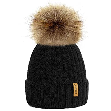 TOSKATOK® Womens Winter Rib Knitted Hat Beanie with Detachable Chunky Faux Fur  Bobble Pom e31767a443e