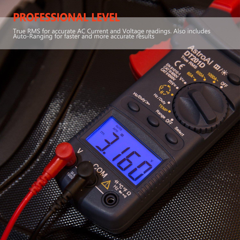 Continua Medidor de Corriente Voltaje AC//DC Resistencia Mult/ímetro Digital Autom/ático 3 A/ños de Garant/ía AstroAI Pinza Amperim/étrica Profesional RMS 6000C Diodos Pinza