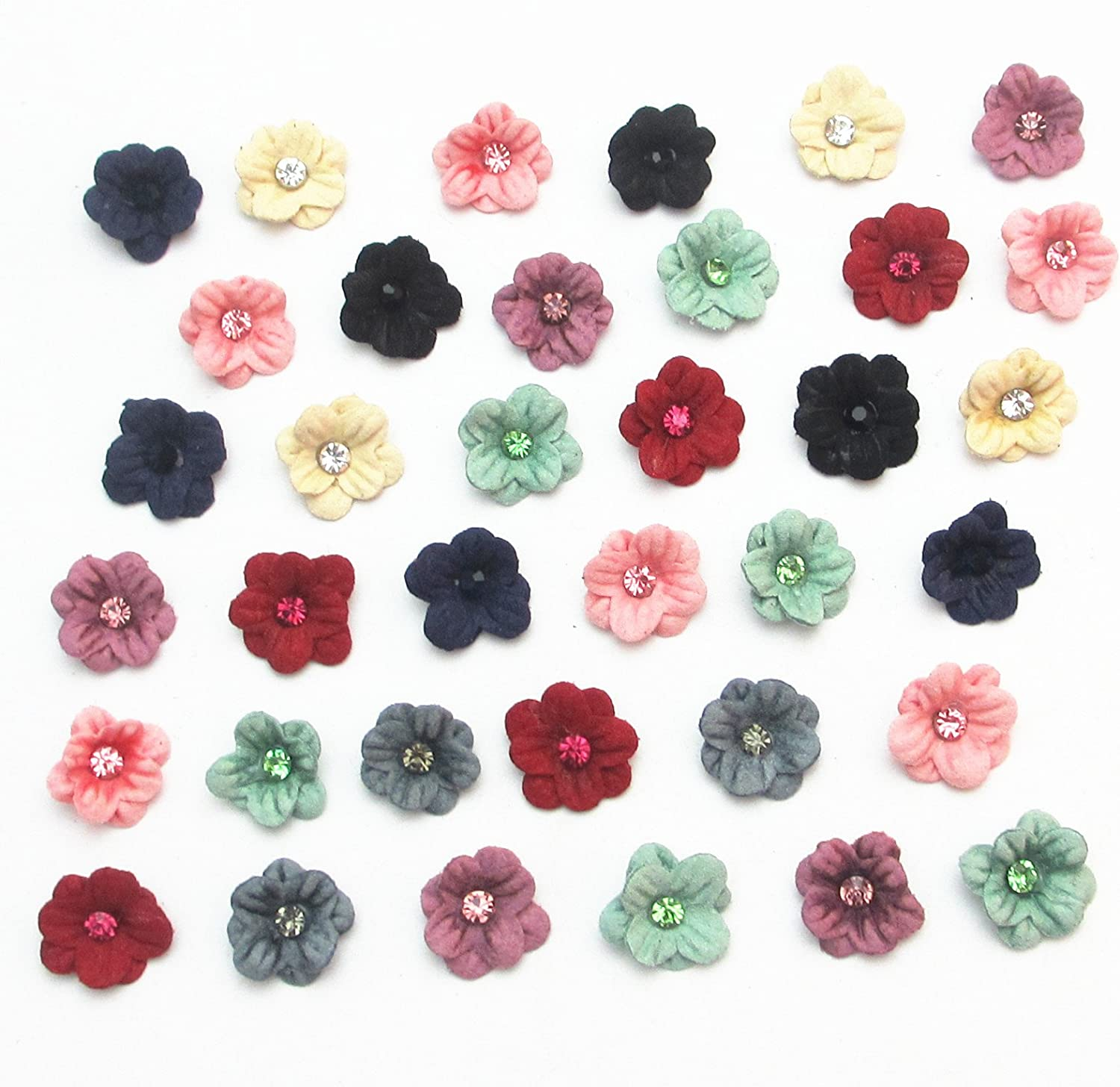 Zhanyue Embellishment 40pcs Assorted Colors 15mm Fabric Flowers with Shiny Rhinestone Ribbon Flowers Appliques for Clothes Sewing Home Curtain Wedding Decoration Flower Diy Craft DDA0503MIX