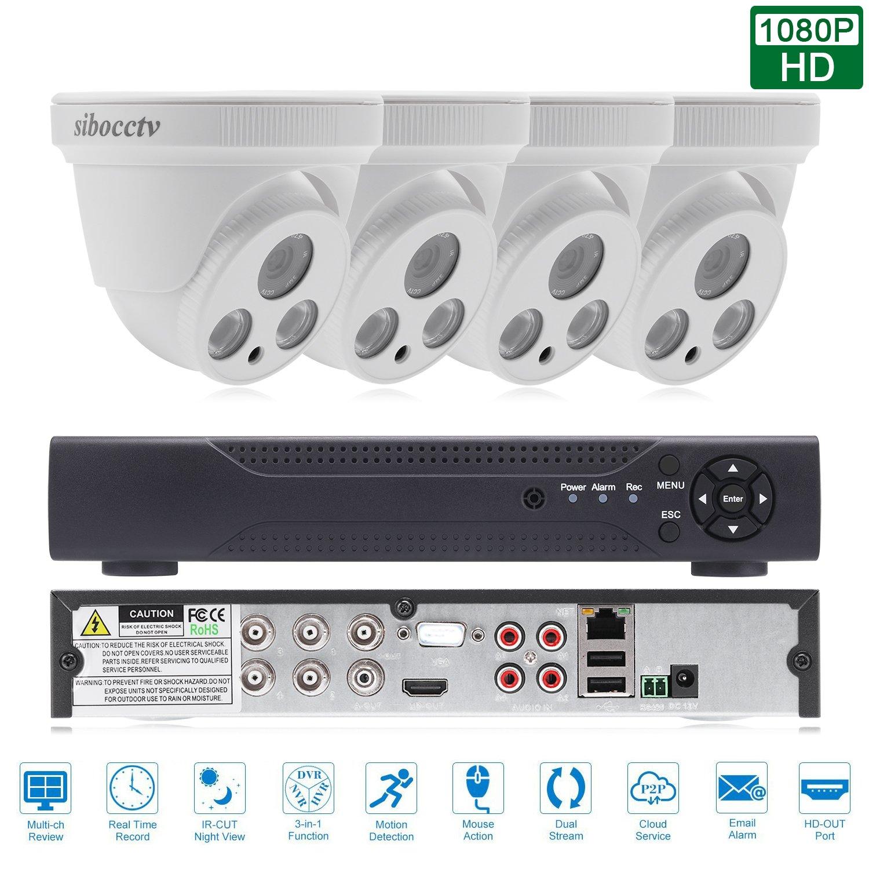 sibocctv 防犯ドーム型カメラセット 4CH1080P 監視システム 動き検出 防塵防水 室内 スマホ遠隔操作 メール送信 CCTV安全カメラ 200万画素 赤外線 高耐久HDD 遠隔監視 暗視撮影 AHD DVR CVI TVI HDMI VGA P2P(4台 1080P カメラ XVR) B07924SDM4  4台 1080P カメラ XVR