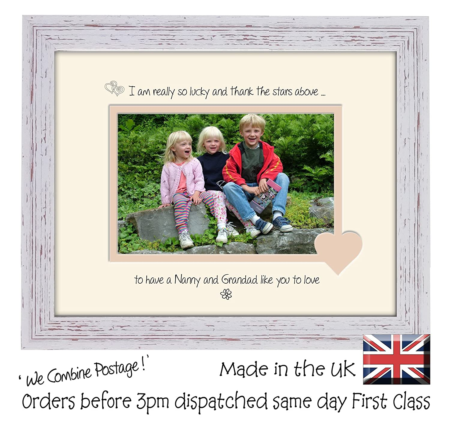 Nanny and Grandad Photo Frame Thank the Stars Above Personalised ...
