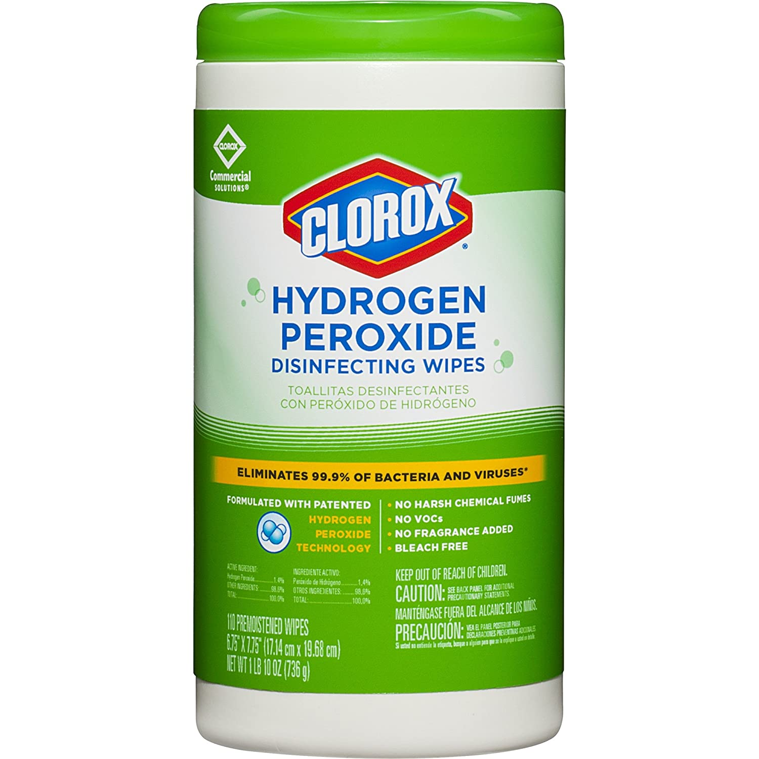Clorox Commercial Solutions Hydrogen Peroxide Disinfecting Wipes, 110 Count Canister (30830) ((2 Pack) 110 Count)