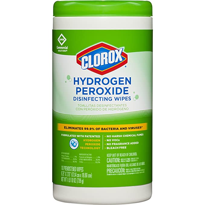 Amazon.com: Clorox Commercial Solutions Hydrogen Peroxide Disinfecting Wipes, 110 Count Canister (30830) ((2 Pack) 110 Count): Kitchen & Dining