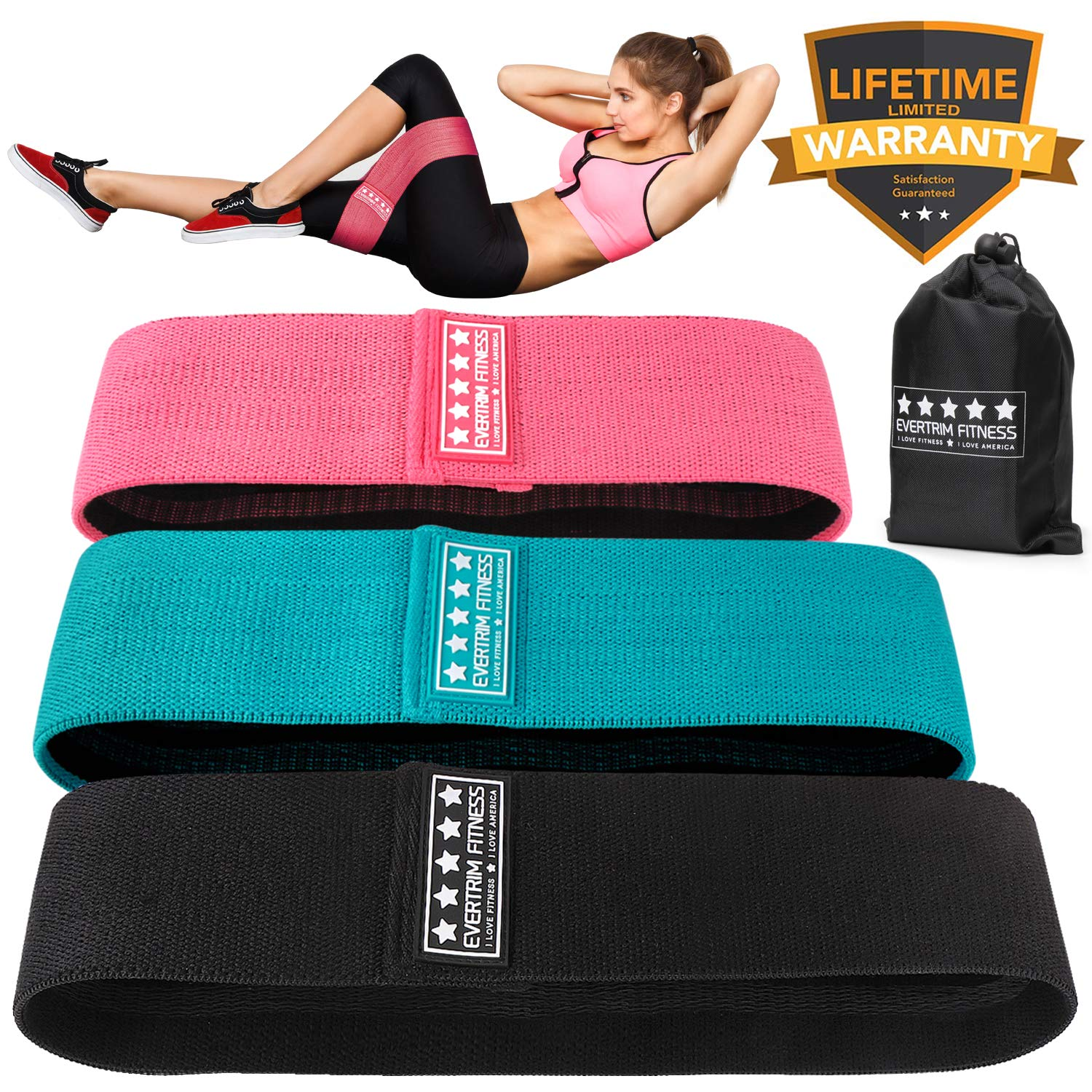 Resistance Exercise Bands for Legs and Butt, Booty Bands Hip Bands Wide Workout Bands Sports-Fitness Bands Stretch Resistance Loops Band Anti Slip Elastic (Life-time Warranty)