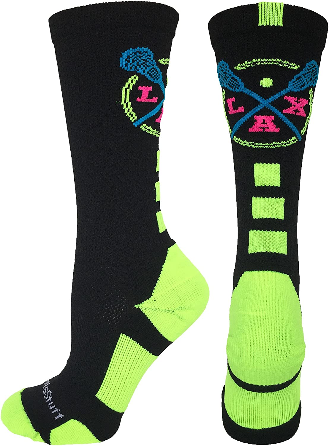 MadSportsStuff LAX Lacrosse Socks with Lacrosse Sticks Athletic Crew Socks (Multiple Colors)