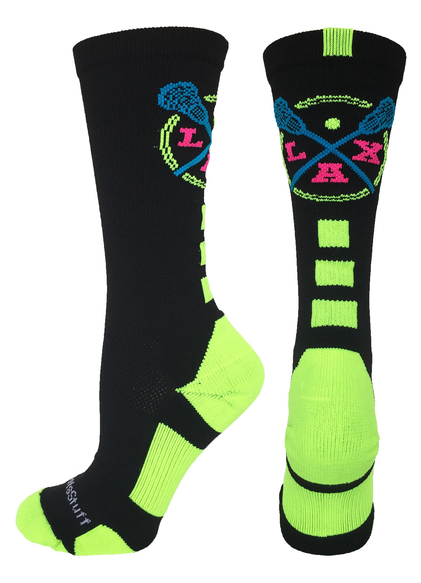 MadSportsStuff LAX Lacrosse Socks with Lacrosse Sticks Athletic Crew Socks (Black/Electric Green, Small) by MadSportsStuff