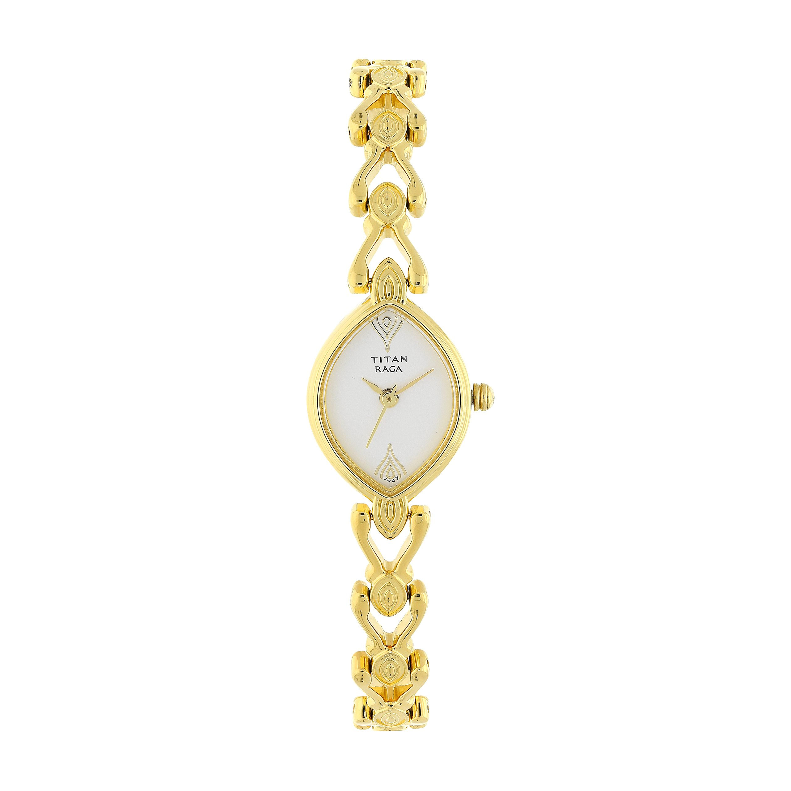 Titan Women's Raga Gold Metal Jewellery, Bracelet Clasp, Quartz Glass, Water Resistant Analog Wrist Watch