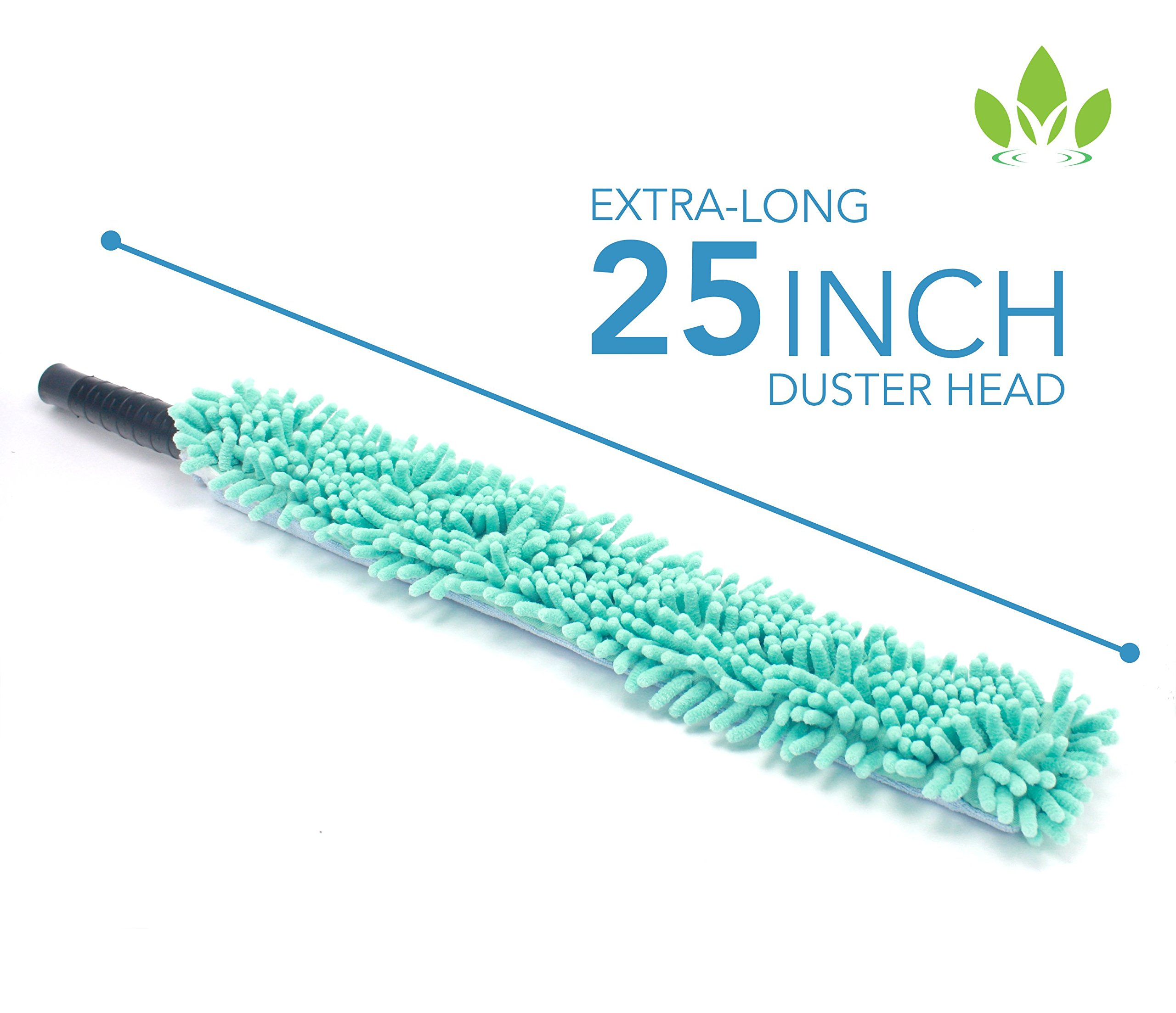 EVERSPROUT 4-Pack Duster Squeegee Kit with Extension-Pole (20+ Foot Reach) | Swivel Squeegee, Hand-Packaged Cobweb Duster, Microfiber Feather Duster, Flexible Ceiling Fan Duster, 12 ft Telescopic Pole by EVERSPROUT (Image #9)