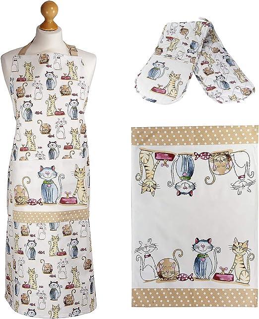 Juego 3 Paño de Cocina, Delantal y Manoplas Horno Doble, 100% Algodón Diseño Gatos, Regalos Originales para Mujer, Cocineros y Amantes de los Gato: Amazon.es: Hogar