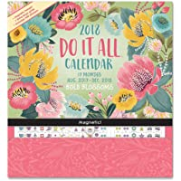 Orange Circle Studio 17-Month 2018 Do It All Magnetic Wall Calendar, Bold Blossoms