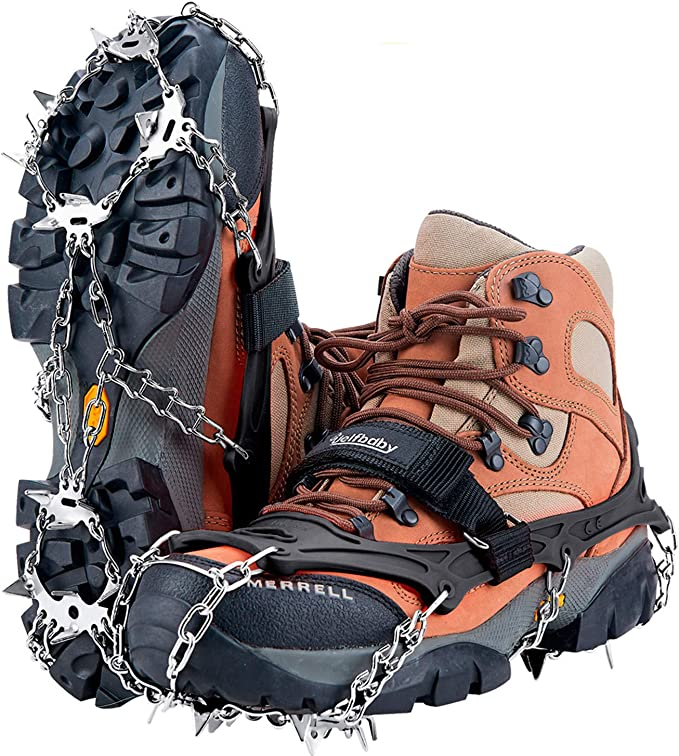 Audew 19 Spikes Crampons Ice Snow Grips Traction Cleats System Safe Protect for Walking Fit S//M//L//XL//XXL Shoes//Boots Jogging or Hiking on Snow and Ice