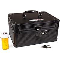 Medication Carrying Case_Medium/Black with Dual, Key & Combination, Lock