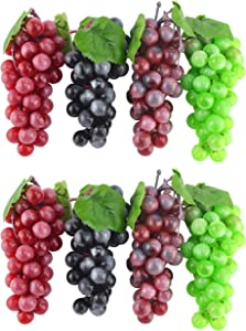 JEDFORE 7 Inches Artificial Grapes Cluster Rubber Frosted Grape Bundles Decorative Grapes Bunches for Vintage Wedding Favor Fruit Wine Decor Faux Fruit Props (Black, Red, Green, Purple - 8 Pack)