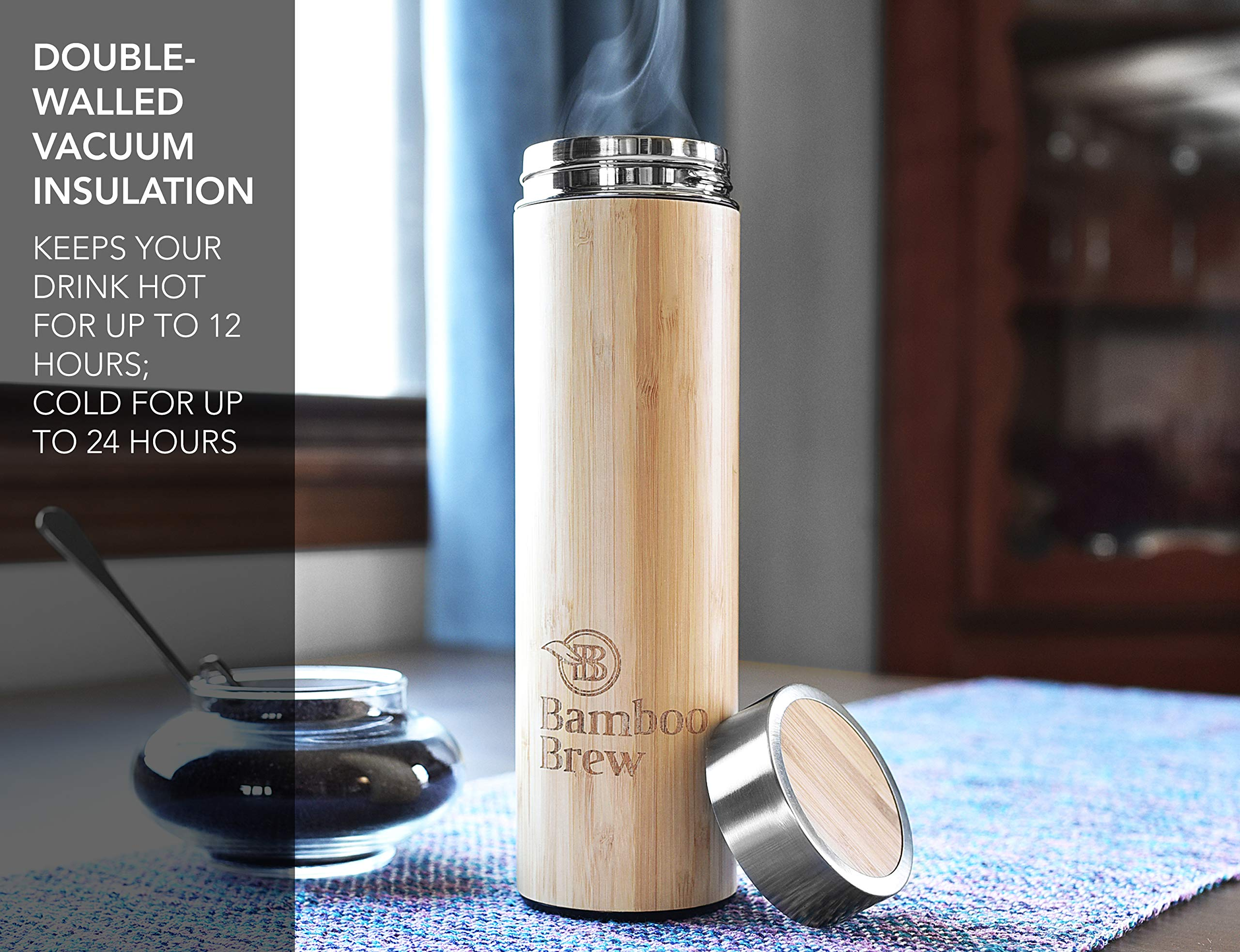 Bamboo Tumbler with Infuser & Strainer 18oz | Stainless Steel Coffee & Tea Flask | Double Wall Vacuum Insulated Travel Mug | Loose Leaf Detox Brew & Fruit Infusion Water Bottle | Ecofriendly Thermos by Bamboo Brew (Image #2)