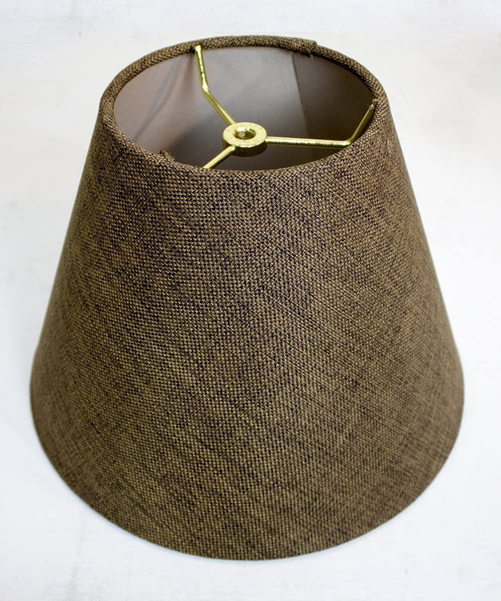 6x12x9 Hard Back Empire Lampshade Chocolate Burlap – Perfect for Small Table Lamps, Desk Lamps, and Accent Lights -Medium, Brown