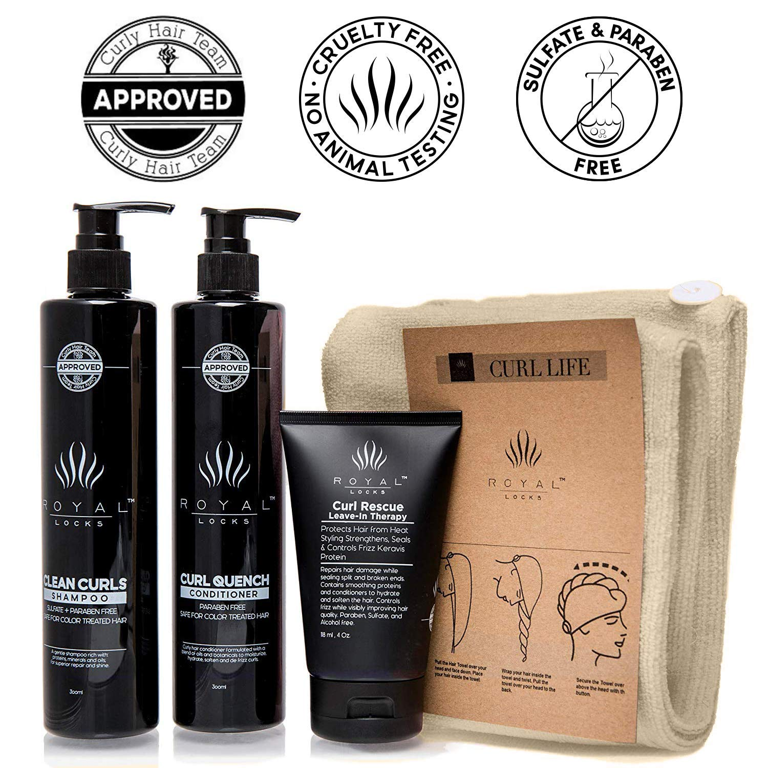 Curly Hair Shampoo and Conditioner Set Sulfate and Paraben Free Plus Microfiber Hair Towel and Leave in Conditioning by Royal Locks by Royal Locks