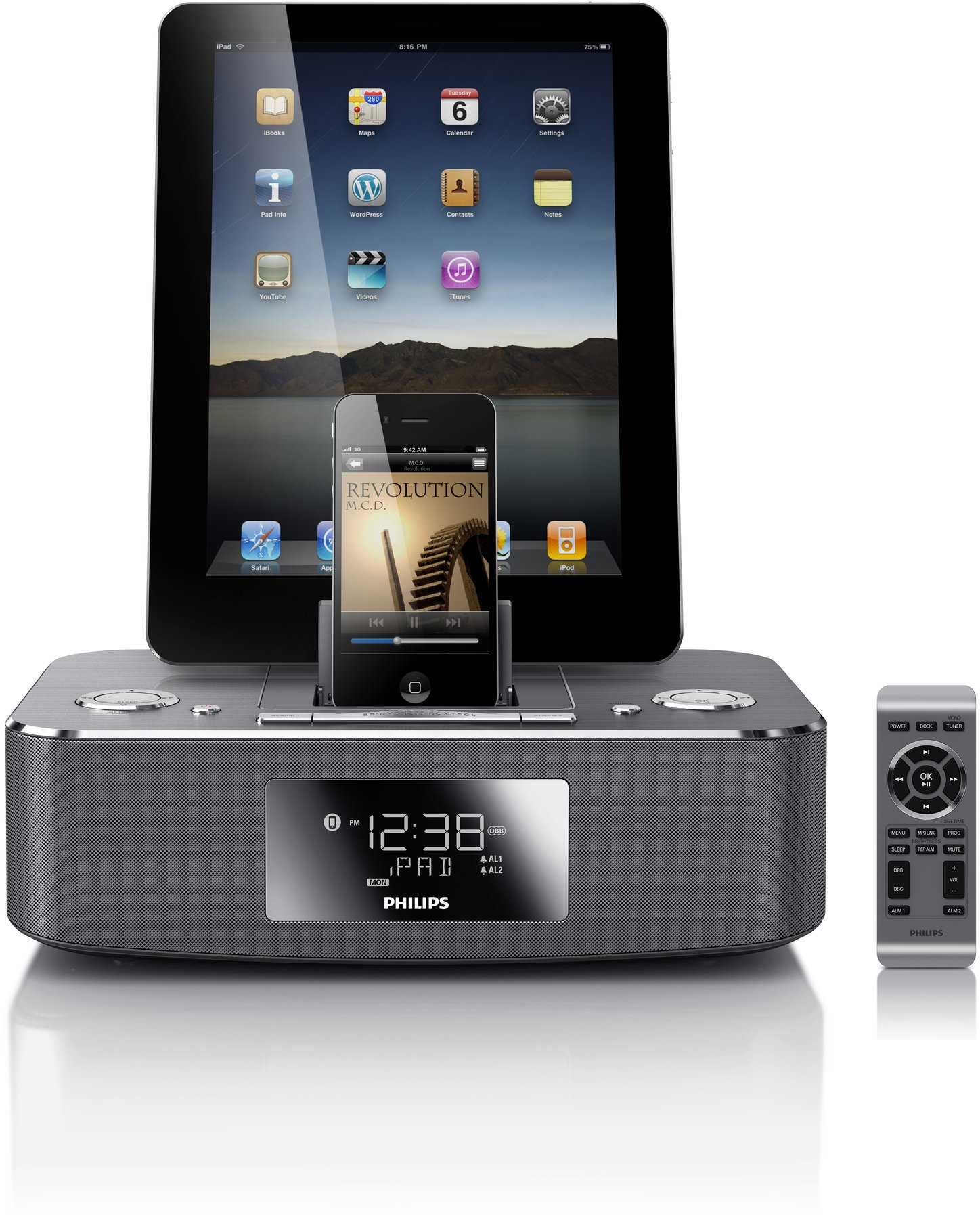 Philips DC390/37 Dual-Docking 30-Pin iPod/iPhone/iPad Alarm Clock Speaker Dock by Philips (Image #1)