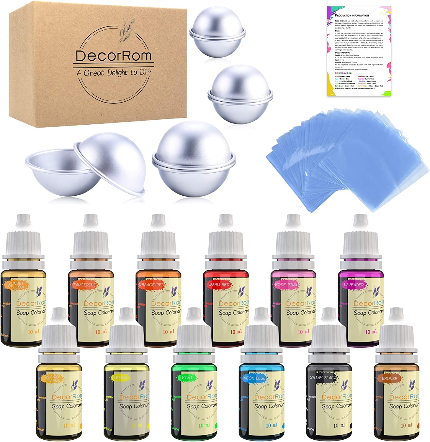 Bath Bomb Mold Set with Soap Colorant,Shrink Wrap Bags - Food Grade Skin Safe Soap Dye for DIY Bath Bomb Making Supplies Kit - Liquid Bath Bomb Dye for Soap Coloring - with Instructions