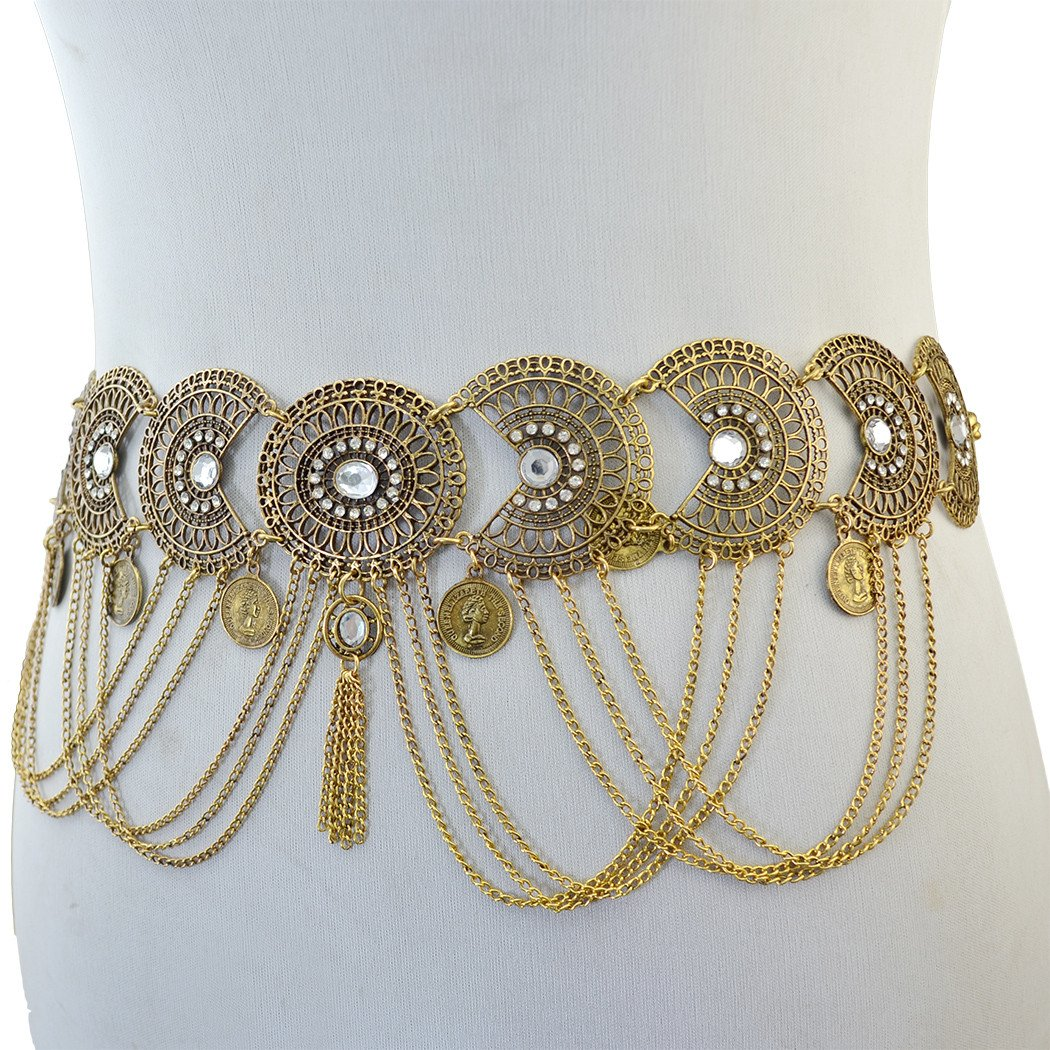 Idealway Vintage Waist Chian Hollow Carving Rhinestone Crystal Body Chain Summer Beach Body Waist Chain Jewelry inlove N-6340-S