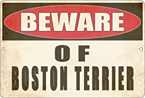Rogue River Tactical Beware of Boston Terrier Dog Metal Tin Sign Yard Outdoor Warning Fence Sign Large 12x8