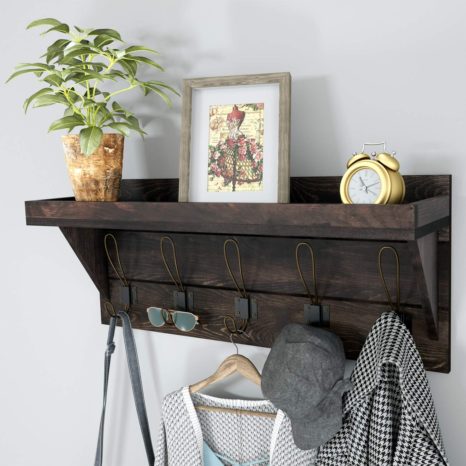 NEARPOW Coat Rack Shelf Wall Mounted, Rustic Coat Rack with Wider Shelf and Fence, Wooden Hanging Coat Rack 24 Entryway Shelf with 5 Dual Hooks, Perfect for Your Entryway, Mudroom, Kitchen, Bathroom