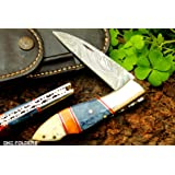 """DKC-58 BLUE JAY Damascus Folding Pocket Knife 4.5"""" Folded 8"""" Long 3.24"""" Blade 7.5oz High Class Looks Incredible Feels Great In Your Hand And Pocket Hand Made DKC Knives"""