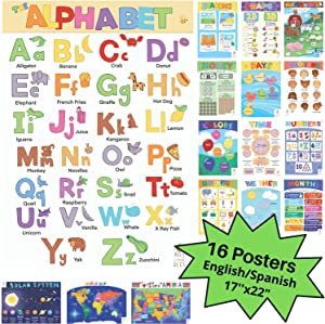 16 Extra Large Educational Posters for Toddlers (22x17 Double Sided English & Spanish) Classroom Learning Poster Set for Kids, Teachers, Homeschool, Preschool, Includes: Alphabet, Colors, Letters, Numbers, Shapes, Months, Days of the Week, Weather, Time, Animals, Solar System, Seasons, Maps & More