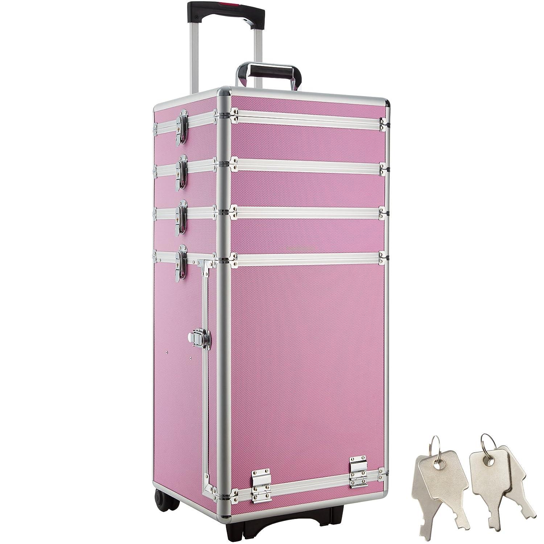 TecTake Kosmetikkoffer Pilotenkoffer Beauty Koffer Schminkkoffer Trolley Friseurkoffer -in diversen Farben- (Silber) 800025