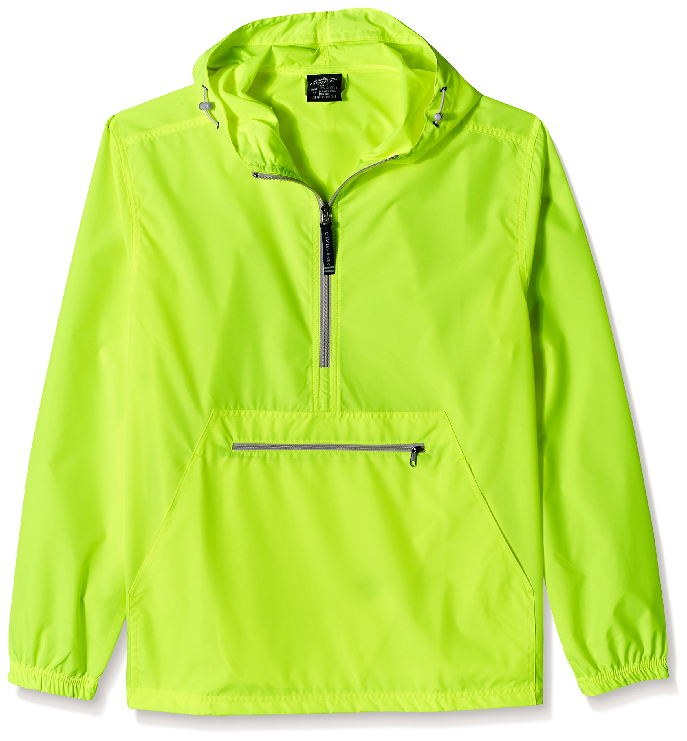 Charles River Apparel Unisex-Adults Pack-n-Go Windbreaker Pullover, Neon Yellow, Large