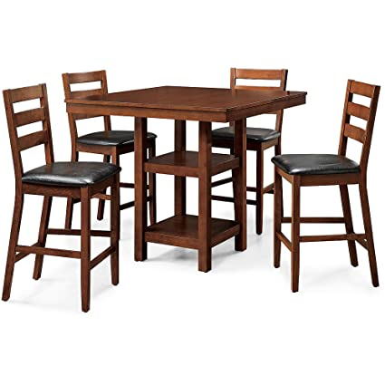 Charming 5 Piece Counter Height Dining Set, Includes Square Table And Four  Padded Chairs,