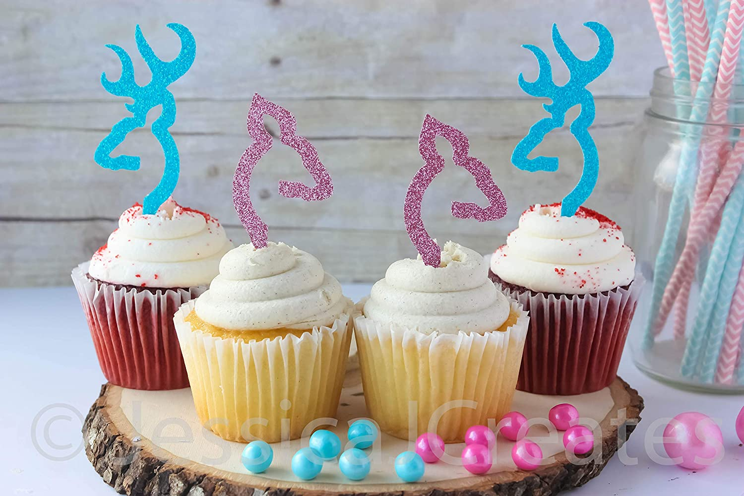Amazon Com Buck Or Doe Gender Reveal Baby Shower Cupcake Toppers