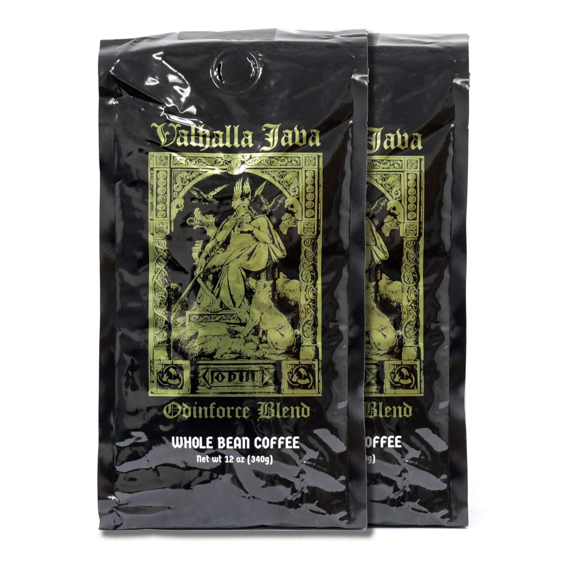 Valhalla Java Whole Bean Coffee Bundle Deal, USDA Certified Organic & Fair Trade (2-Pack) 24oz by Death Wish Coffee Co.