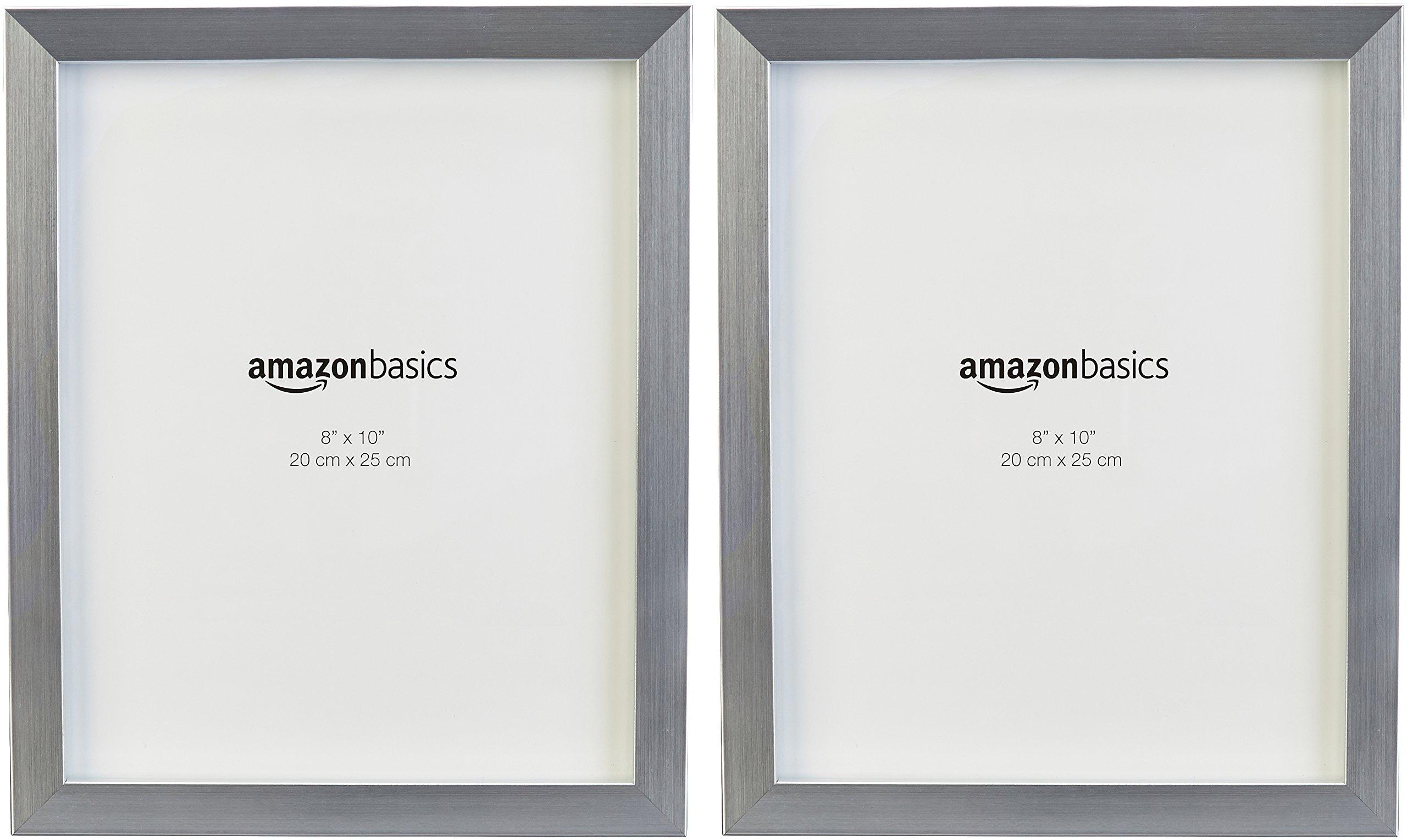 AmazonBasics Photo Frame - 8'' x 10'', Nickel, 2-Pack