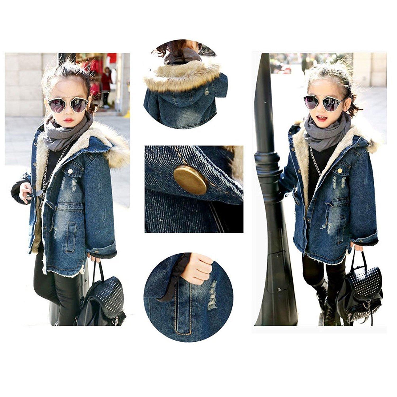 Kids Little Fall Girl Winter Hooded Fur Collar Thick Denim Coat Jacket Outerwear (9-10Years, Blue) by TJTJXRXR (Image #5)