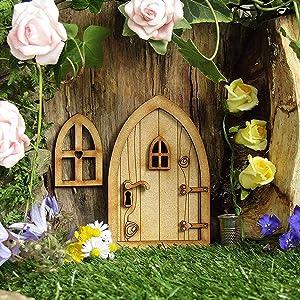 Fairy Gnome Door Fairy Doors for Trees Outdoor Fairy Decor Yard Art for Kids Gnome Home Window and Door,Tree Garden Decor (F)