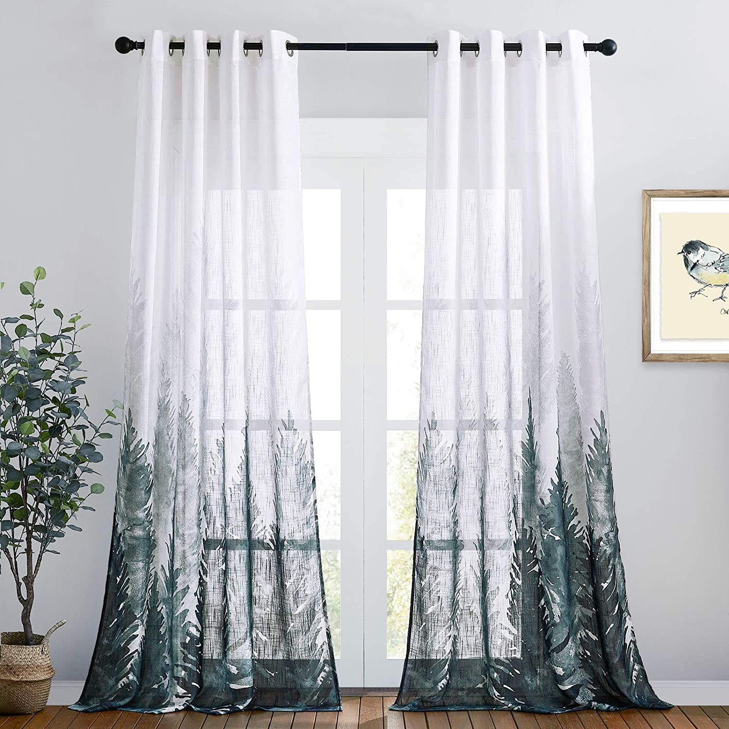 RYB HOME Linen Textured Sheer Curtains, Privacy Semi Sheer Curtains Foggy Ombre Tree Print Drapes for Bedroom Kitchen Shower Living Room, Wide 50 x Long 108 inch, 2 Panels