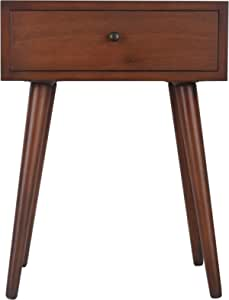 Décor Therapy Mid Century One Drawer Side Table Wood Light Walnut Furniture Decor