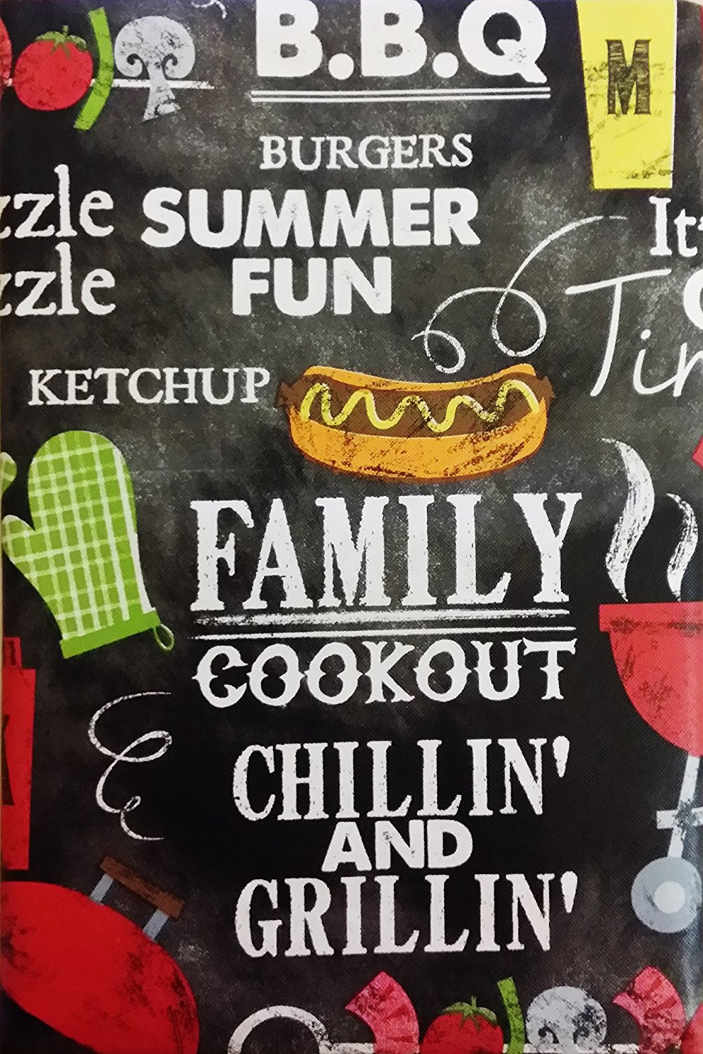 "Summer Fun Chillin' and Grillin' Cookout BBQ Vinyl Flannel Back Tablecloth (52"" x 70"" Oblong)"