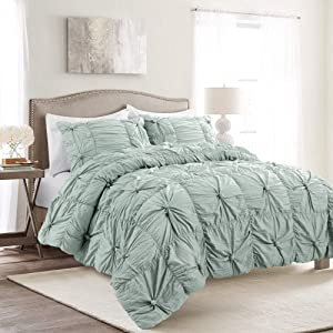 Lush Decor Blue Bella Comforter Set Shabby Chic Style Ruched 3 Piece Bedding with Pillow Shams-King