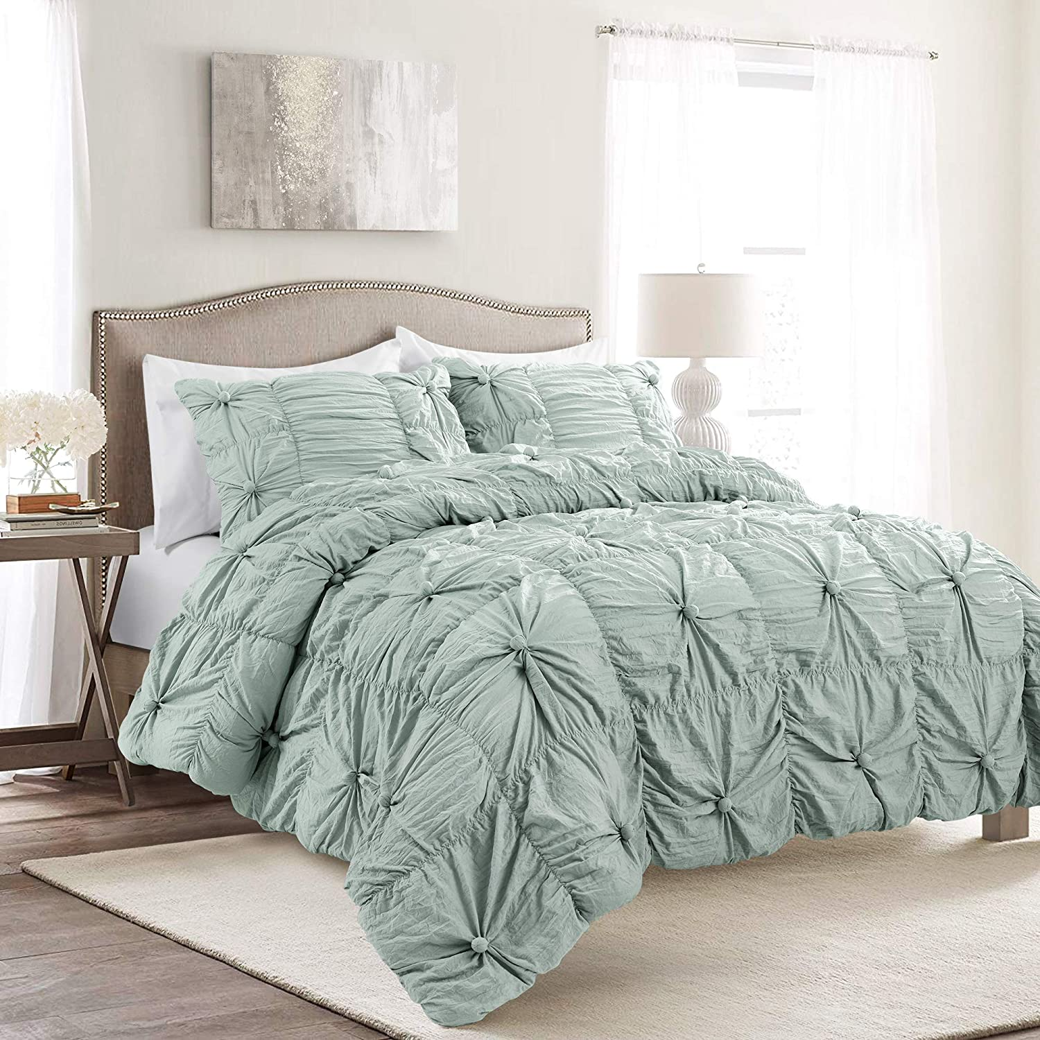 Lush Decor Bella Comforter Set Shabby Chic Style Ruched 3 Piece Bedding with Pillow Shams-Full Queen-Blue