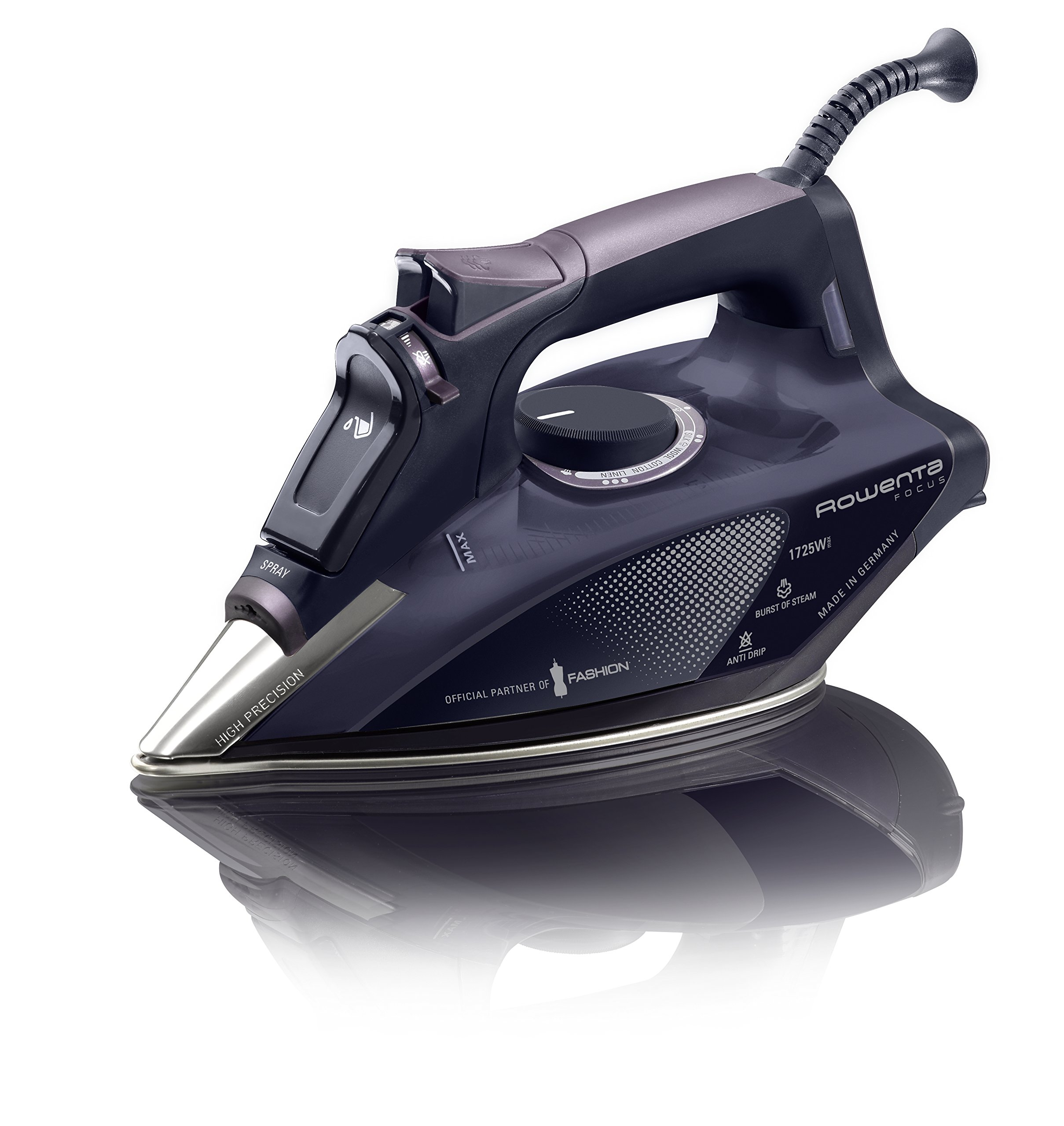 Rowenta DW5197 Partner of Fashion Focus Steam 1725-Watt Micro Steam Iron with Stainless Steel Soleplate, 400-Hole, Purple by Rowenta
