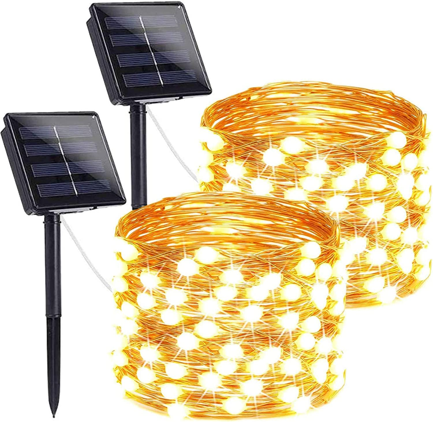 LORRYTE 2-Pack Outdoor Solar String Lights (Ultra-Bright & Super Durable), 200LED Solar Christmas Lights Outdoor Waterproof Copper Wire 8 Modes Fairy Lights for Christmas Party Garden (Warm White)