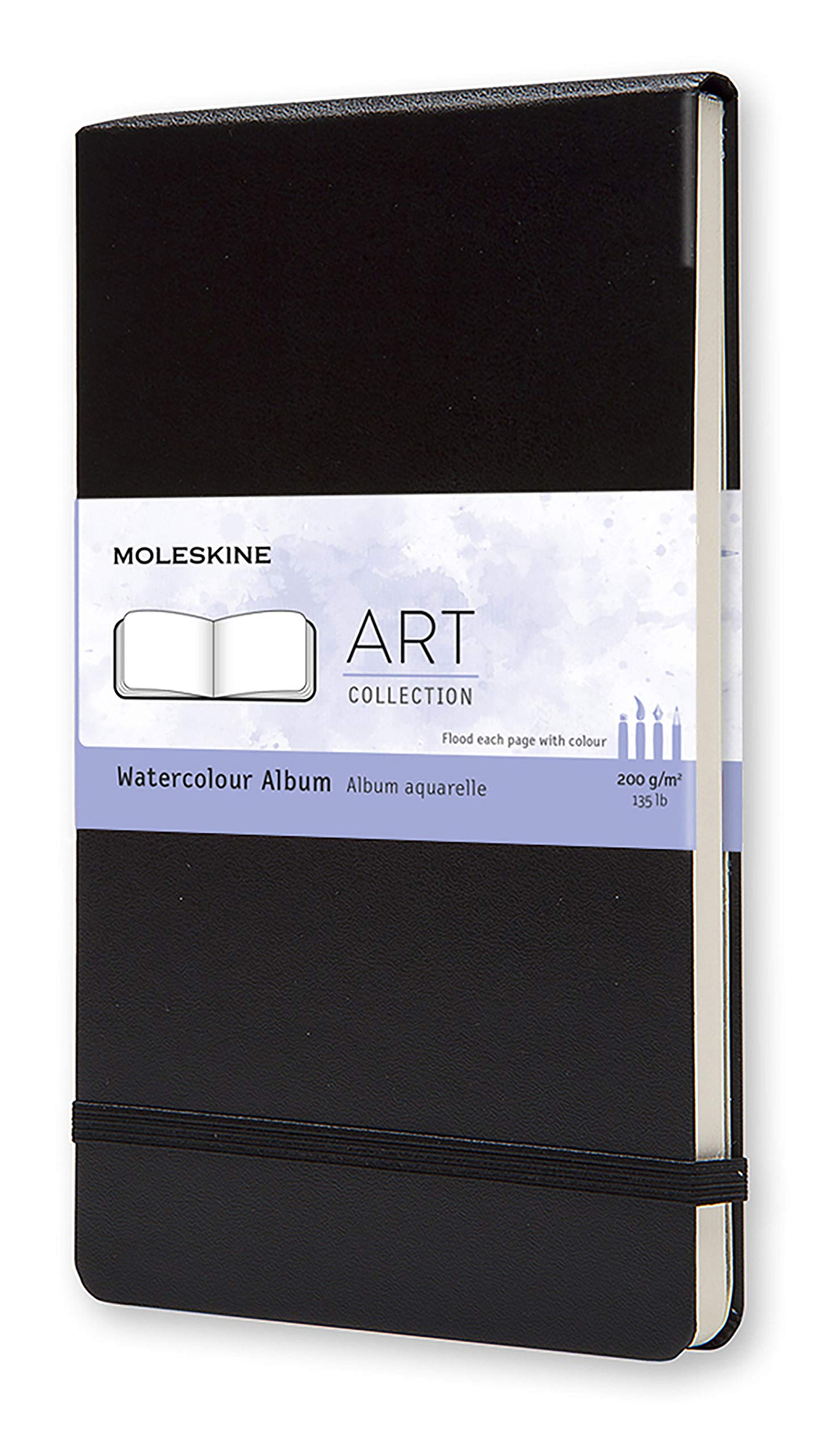 Moleskine Art Watercolor Album, Hard Cover, Large (5'' x 8.25'') Plain/Blank, Black by Moleskine