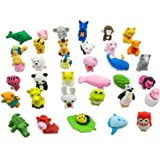 TOAOB 28PCS Pencil Erasers Adorable Non-Toxic Best Removable Assembly Zoo Mini Puzzle Animal Pencil Erasers Set for Kids Games Fun Games Prizes and School Supplies