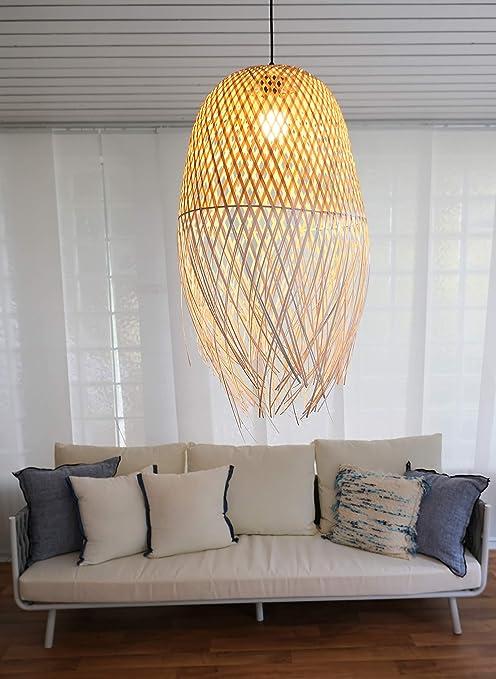 Bourgh Ladispoli Bamboo Lamp Hanging Lamp With Bamboo Lampshade 42 Cm Diameter Wicker Hanging Lamp Chandelier Ceiling Light Pendant Light Bedroom Lamp Lantern Amazon De Kuche Haushalt