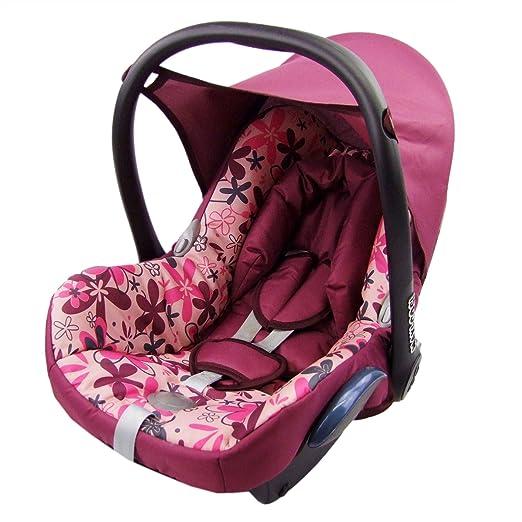 Bambiniwelt Ersatzbezug Für Maxi Cosi Cabrio Fix 6 Tlg Bezug Für Babyschale Sommerbezug Bordo Mit Rosa Blumen Baby