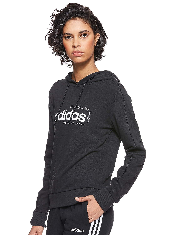 Felpa Adidas nera con cappuccio in spugna Hoodie Brilliant abbigliamento donna art. EI4632