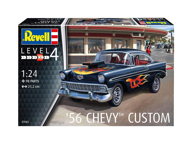 1//24 Revell-1956 Chevy Custom Escala 1:24 Kit de Modelos de pl/ástico Revell 07663 7663