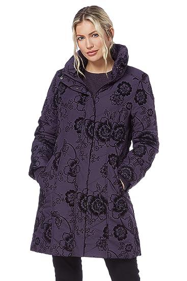 Roman Originals Women s Floral Velvet Flock Print Long Sleeved High Neck  Coat - Ladies Autumn Winter Fashion Coats and Jackets Casual Everyday Smart  Formal ... c94b26941